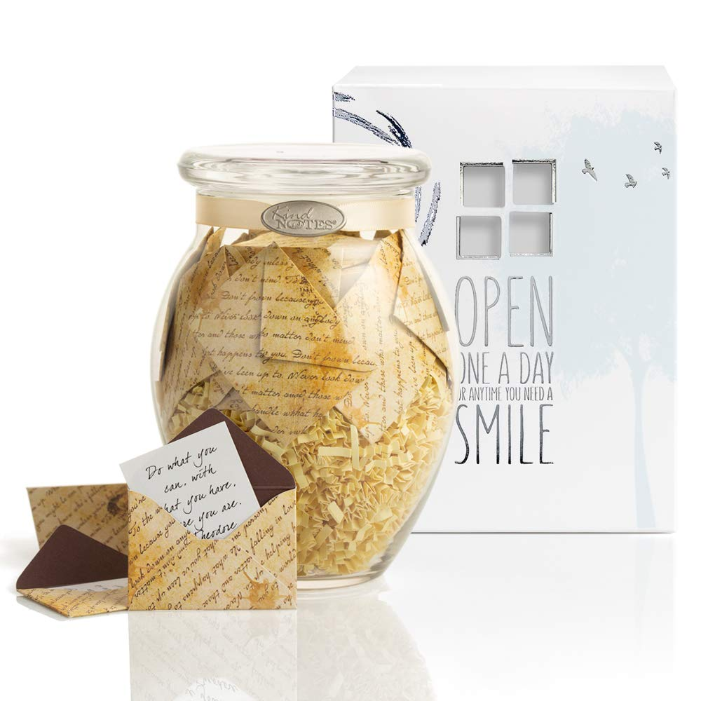 KindNotes Glass Keepsake Gift Jar with Love Messages